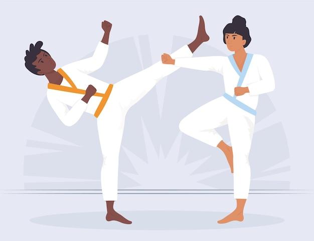 Atletas de jiu-jitsu luchando contra mujer y hombre