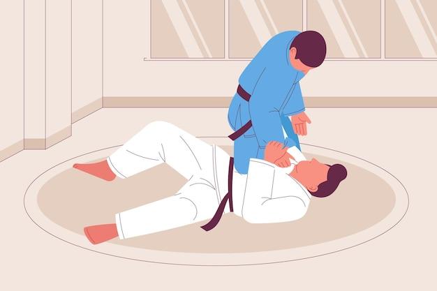 Atletas de jiu-jitsu luchando dibujados a mano.