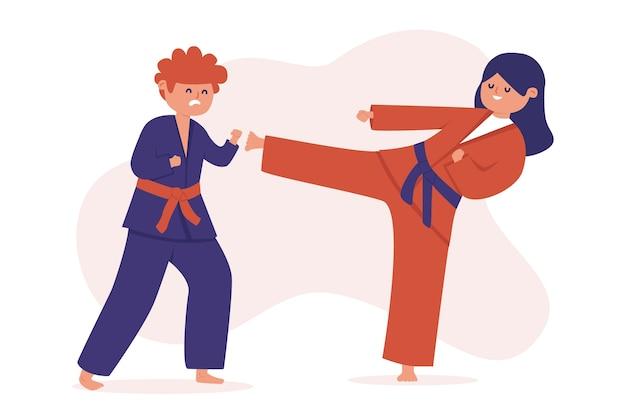 Atletas de jiu-jitsu luchando ilustración
