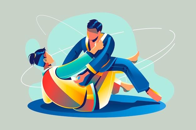 Atletas de jiu-jitsu luchando