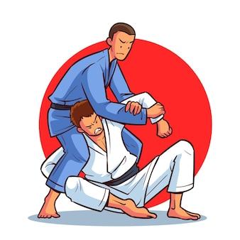 Atletas de jiu-jitsu peleando con cinturones negros