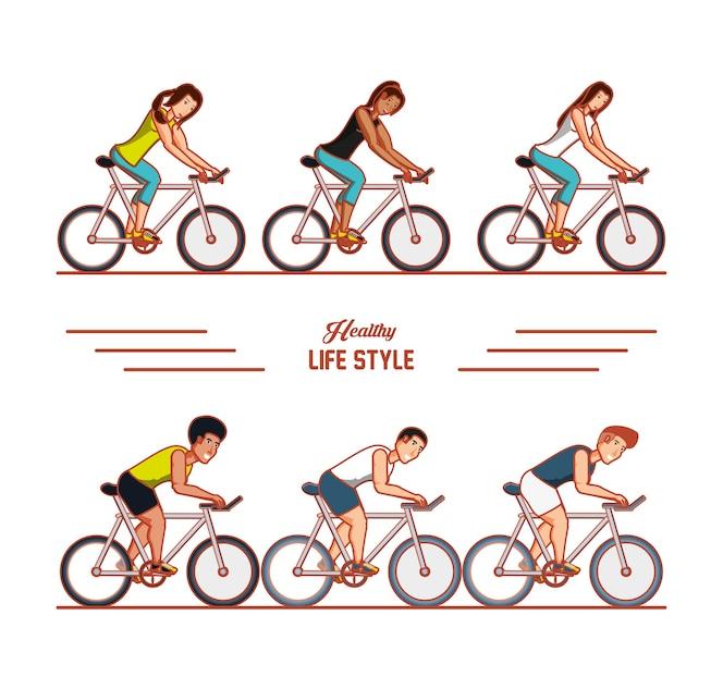 Atletas jóvenes, deporte de entrenamiento con iconos de estilo de vida saludable