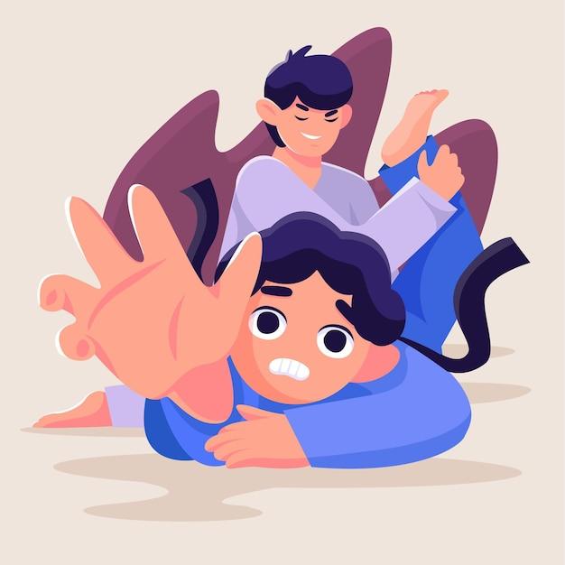 Atletas de karate de jiu-jitsu luchando