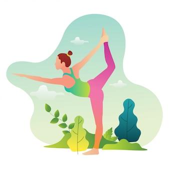 Los atletas profesionales de yoga están practicando para participar en competiciones internacionales de yoga.