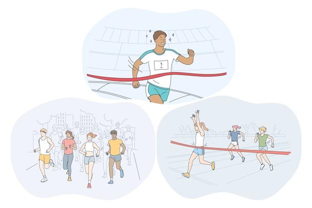 Atletismo, carrera, concepto de competencia de maratón.