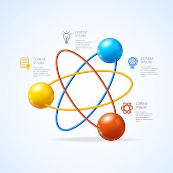Atom infografic aislado en blanco
