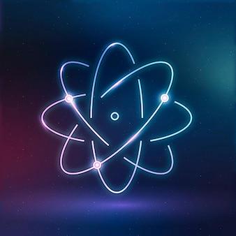 Átomo, ciencia, educación, icono, vector, neón, digital, gráfico