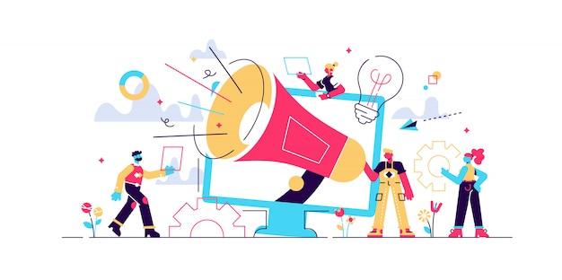 Atracción al cliente, promoción de redes sociales. equipo de marketing digital, métricas del equipo de marketing, líder del equipo de marketing, concepto de responsabilidades del equipo de marketing. ilustración creativa concepto aislado