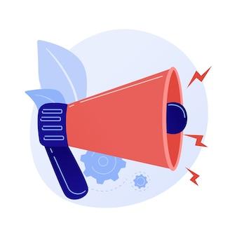 Atracción de atención. anuncio o advertencia importante, intercambio de información, últimas noticias. altavoz, megáfono, megáfono con signo de exclamación.