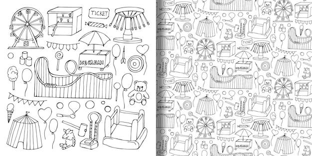 Atracción conjunto de objetos de doodle dibujados a mano y patrones sin fisuras para fondos de pantalla de estampados textiles
