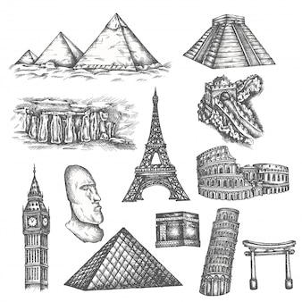 Atracciones del mundo en estilo boceto.