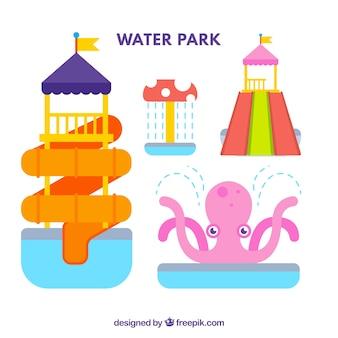 Atracciones de parque acuático en diseño plano
