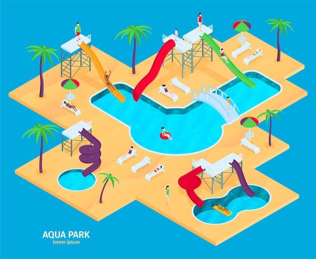 Atracciones del parque acuático rodeadas de agua en vista isométrica con varios toboganes, palmeras y sillas largas