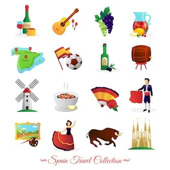 Atracciones turísticas en españa y símbolos culturales nacionales. colección de iconos planos de vinos y alimentos.