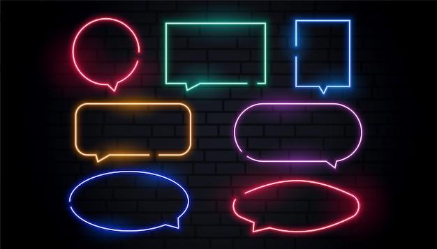 Atractivas burbujas de chat de neón en muchos colores.