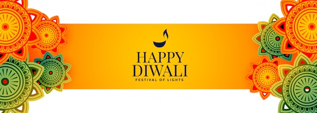 Atractivo banner feliz festival de diwali con decoración