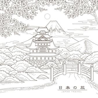 Atractivo cartel de viaje a japón con sakura japan travel en palabras japonesas