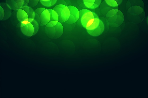 Atractivo diseño de efecto de luces verdes bokeh