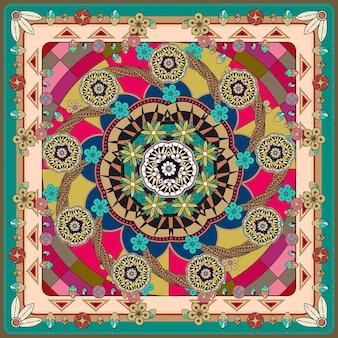 Atractivo diseño de fondo mandala con elementos florales y geométricos.