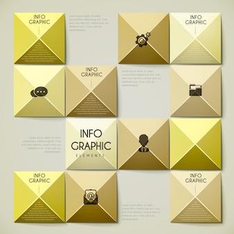 Atractivo diseño infográfico con elementos de metal dorado