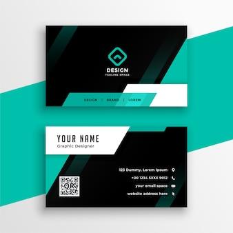 Atractivo diseño de tarjeta de visita geométrica turquesa y negra