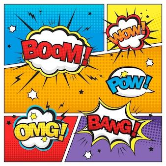 Atractivo efecto de sonido de cómic en una colorida plantilla de cómic