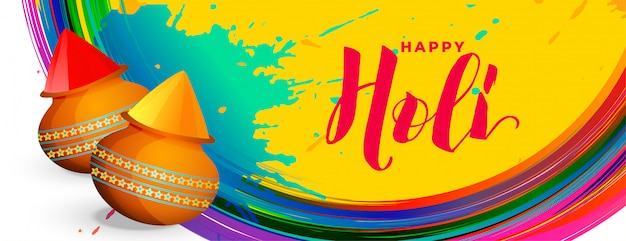 Atractivo feliz holi colorido festival banner