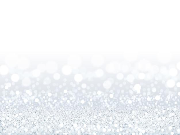 Atractivo fondo de lentejuelas blancas, partículas plateadas y blancas compuestas de papel tapiz bokeh en la ilustración