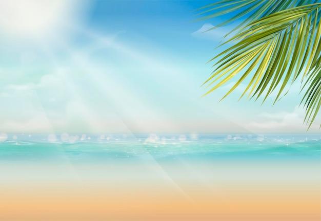 Atractivo lugar de veraneo con hojas de palmera y un vasto océano en estilo 3d