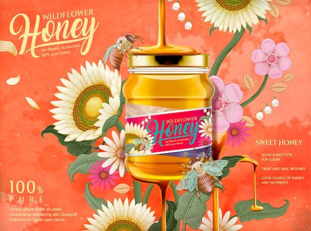 Atractivos anuncios de miel, miel que gotea desde la parte superior del frasco de vidrio en la ilustración con elementos elegantes de flores, grabado de fondo de estilo de sombreado en tono naranja