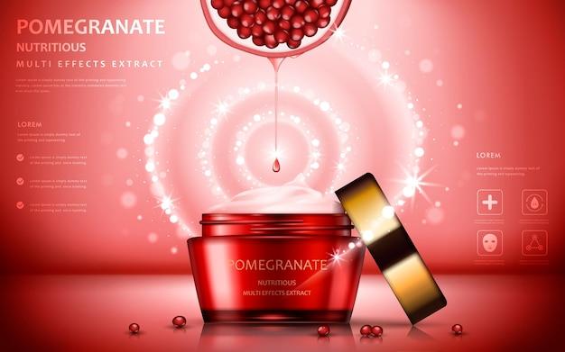 Atractivos ingredientes de frutas con un paquete cosmético y efectos brillantes
