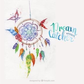 Atrapa sueños pintado con acuarelas