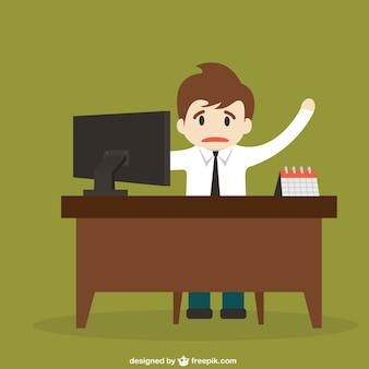 Atrapado detrás de un escritorio de dibujos animados