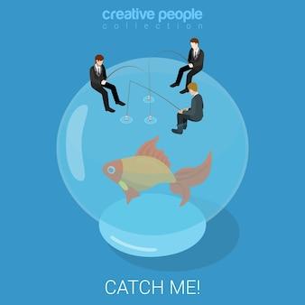 Atrapar peces de colores destino destino éxito negocio plano isométrico