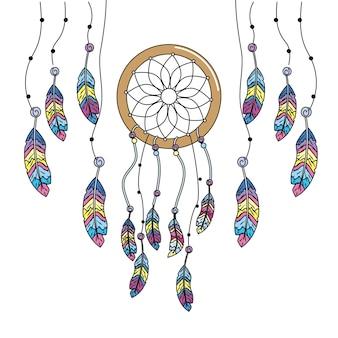 Atrapasueños de belleza con diseño de plumas