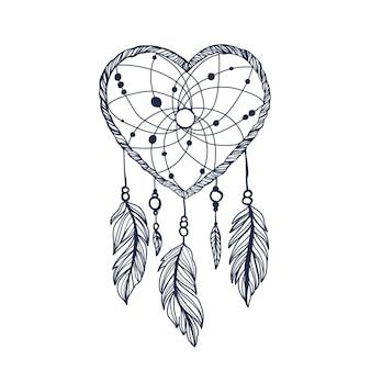 Atrapasueños, corazón, con, plumas, vector, hipster, ilustración, aislado, blanco, diseño étnico