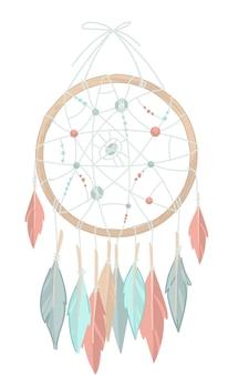 Atrapasueños hecho de hilos circulares y plumas