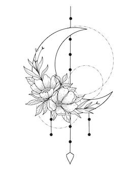 Atrapasueños de media luna con arte lineal de doodle de flores