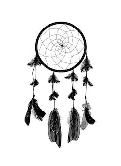 Atrapasueños negro naturalista aislado sobre fondo blanco. eps10