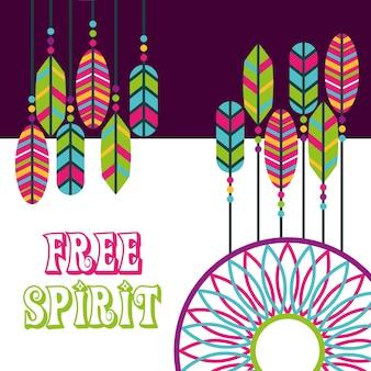 Atrapasueños plumas boho hippie espíritu libre