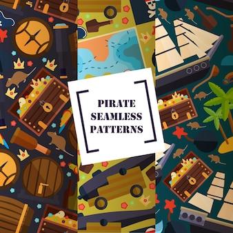 Atributo pirata de patrones sin fisuras iconos planos símbolos de piratería mapa cañón del barco
