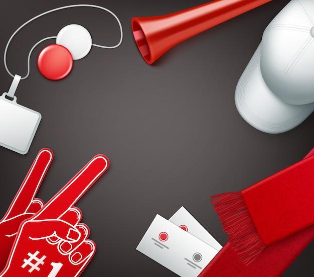 Atributos de los aficionados en colores rojo y blanco