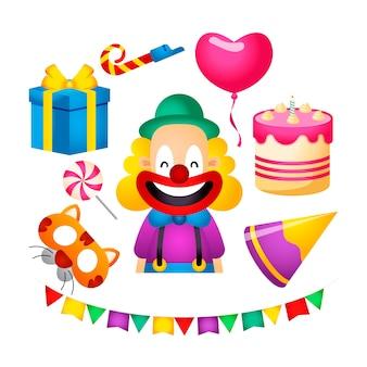 Atributos coloridos de fiesta de cumpleaños