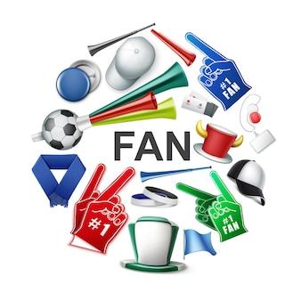 Atributos de fanáticos realistas concepto redondo con partidario de balón de fútbol con cuernos y sombreros de cilindro, gorra, insignias, bufanda, guantes de espuma, entradas, banderas, vuvuzela, trompetas