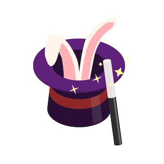 Atributos de mago de circo isométrico con conejo con sombrero y varita mágica ilustración 3d