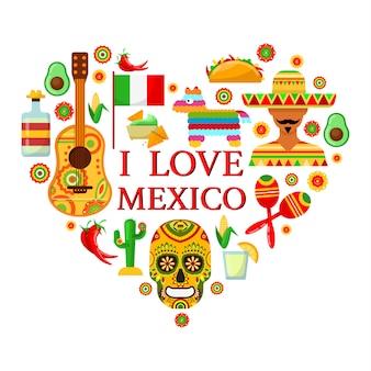 Atributos mexicanos en forma de corazón sobre fondos blancos.