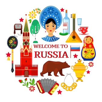 Atributos rusos tradicionales de colorfull sobre fondo blanco