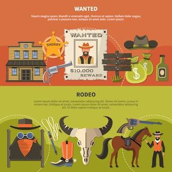 Atributos de sheriffs y pancartas de rodeo