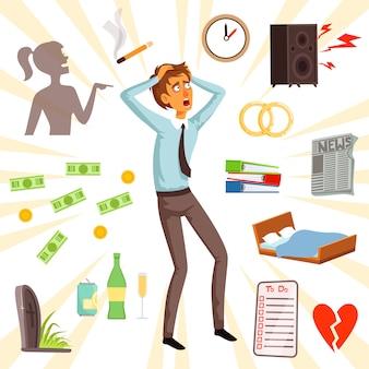 Atributos y símbolos del estrés y el miedo. infeliz personaje adulto, miedo y estrés ilustración vectorial