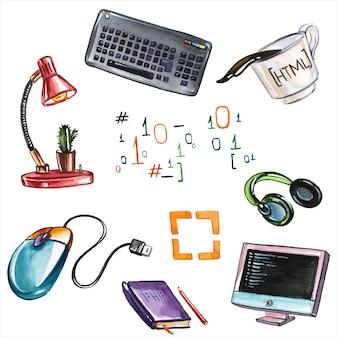 Atributos de trabajo de oficina conjunto de ilustraciones en acuarela dibujadas a mano. partes de computadora, lámpara y cuaderno, fórmulas y taza de café artículos para el lugar de trabajo colección de pinturas aquarelle